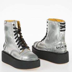 New Diesel D-Cage metallic Leather Platform Boots